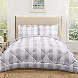Truly Soft Buffalo Plaid 2-Piece Reversible Twin XL Comforter Set in Grey