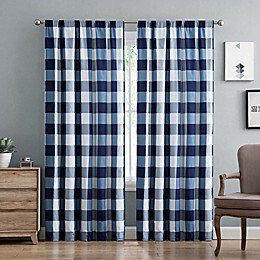 Truly Soft Buffalo Plaid 84-Inch Rod Pocket Window Curtain Panel Pair