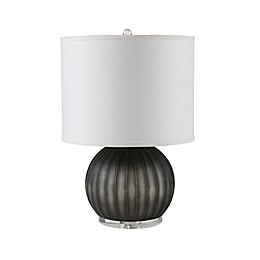 Madison Park Rotunda Table Lamp in Grey with CFL Bulb and Fabric Drum Shade