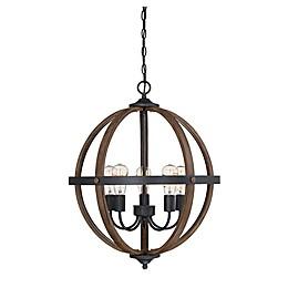 Filament Design 5-Light Spherical Chandelier in Wood/Black