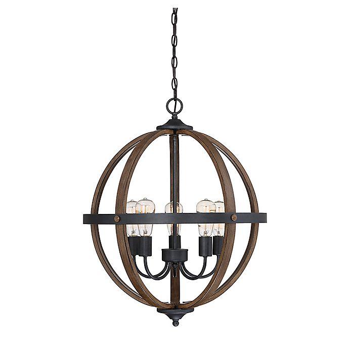 Alternate image 1 for Filament Design 5-Light Spherical Chandelier in Wood/Black