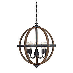 Filament Design 5-Light Spherical Chandelier in Wood/Black