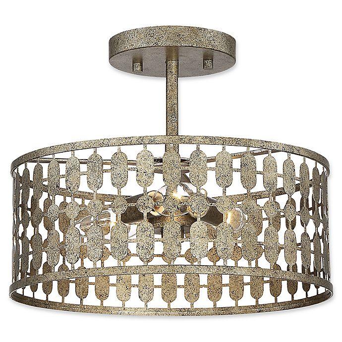 Alternate image 1 for Filament Design 3-Light Semi-Flush Mount Light Fixture in Antique Gold