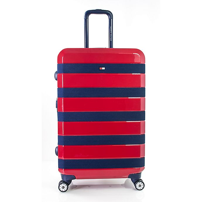 Alternate image 1 for Tommy Hilfiger Rugby Stripe 25-Inch Hardside Spinner Checked Luggage in Red