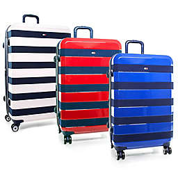 Tommy Hilfiger Rugby Stripe Hardside Spinner Checked Luggage