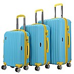 Brio Thick Rib 3-Piece Hardside Spinner Luggage Set in Blue/Yellow