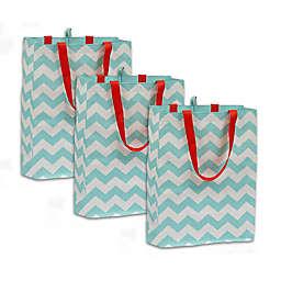 Chevron Plastic Tote Bags (Set of 3)