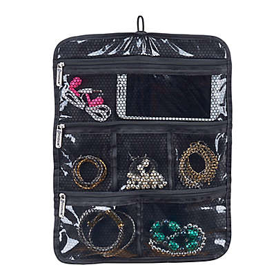 Travel Jewelry and Accessory Roll in Black