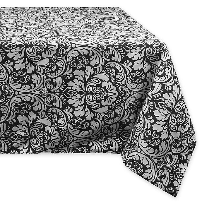 Alternate image 1 for Design Imports Damask 60-Inch x 84-Inch Oblong Tablecloth in Black