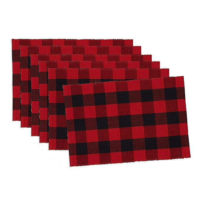 Alternate image 1 for Design Imports Buffalo Check Placemats in Red/Black (Set of 6)