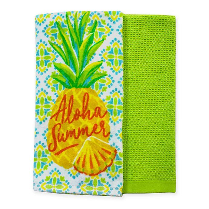 Alternate image 1 for Summer Pineapple Kitchen Towels (Set of 2)