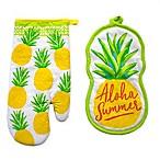 Summer Pineapple 2-Piece Oven Mitt and Pot Holder Set
