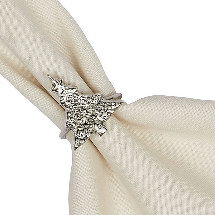 Christmas Tree Napkin Rings.Design Imports Christmas Tree Napkin Rings In Silver Set Of