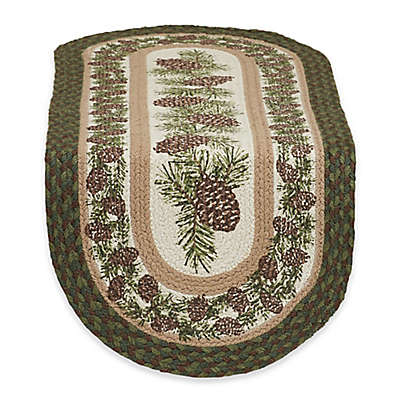 Design Imports Pinecone Braided 36-Inch Table Runner in Green