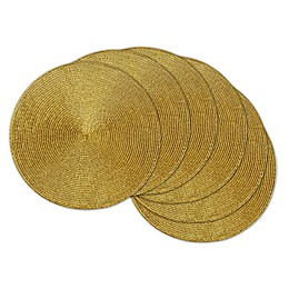 Design Imports Round Woven Metallic Placemats (Set of 6)
