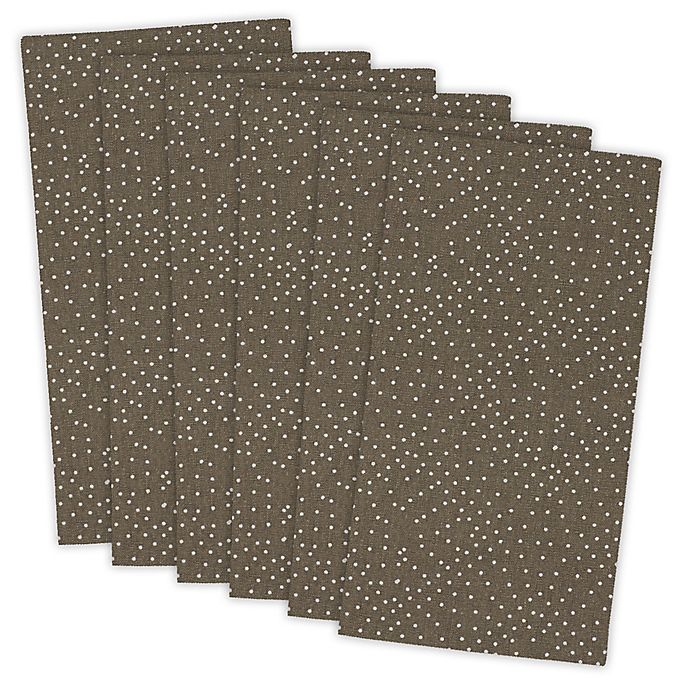 Alternate image 1 for Design Imports Dots Buffet Napkins in Brown (Set of 6)