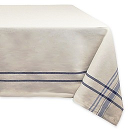 Design Imports French Stripe 60-Inch x 120-Inch Oval Tablecloth in Blue