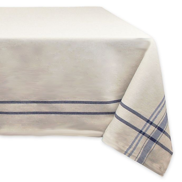 Alternate image 1 for Design Imports French Stripe 60-Inch x 120-Inch Oval Tablecloth in Blue