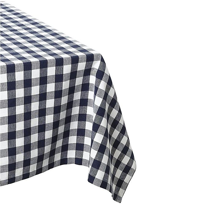 Alternate image 1 for Design Imports Check 60-Inch x 84-Inch Oblong Tablecloth in Navy