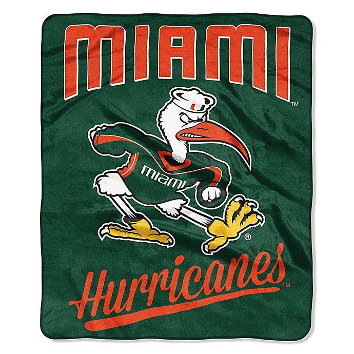 Alternate image 1 for University of Miami Raschel Throw Blanket