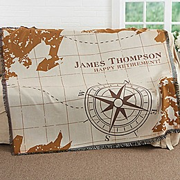Compass Inspired Retirement Woven Throw Blanket