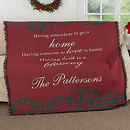 Christmas Blessings Woven Throw Blanket