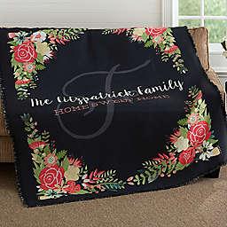 Posh Floral Woven Throw Blanket