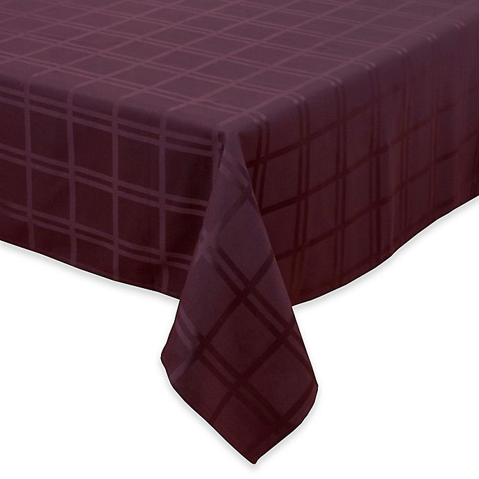 Alternate image 1 for Origins™ Microfiber 60-Inch x 84-Inch Oblong Tablecloth in Eggplant