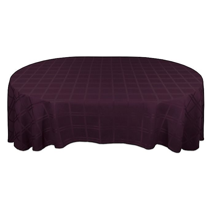 Alternate image 1 for Origins™ Microfiber 60-Inch x 102-Inch Oval Tablecloth in Eggplant