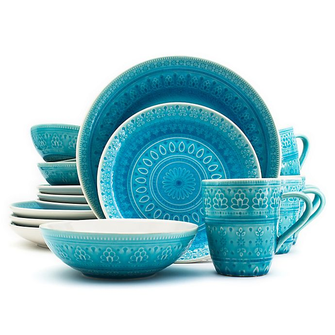 Alternate image 1 for Euro Ceramica Fez 16-Piece Dinnerware Set in Turquoise