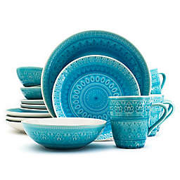 Euro Ceramica Fez 16-Piece Dinnerware Set in Turquoise