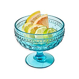 Euro Ceramica Fez Footed Compote Glasses in Turquoise (Set of 4)