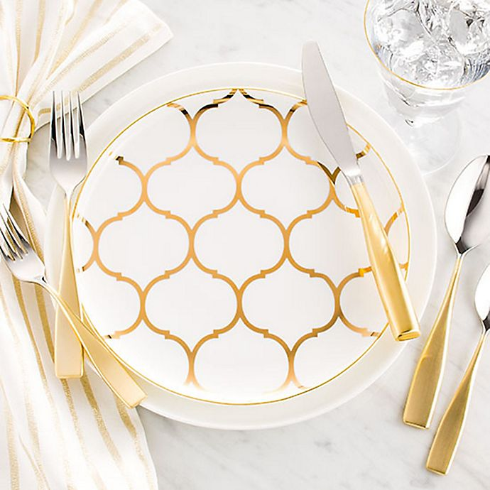 Alternate image 1 for Nevaeh White® by Fitz and Floyd® Gold Lattice Dinnerware Collection