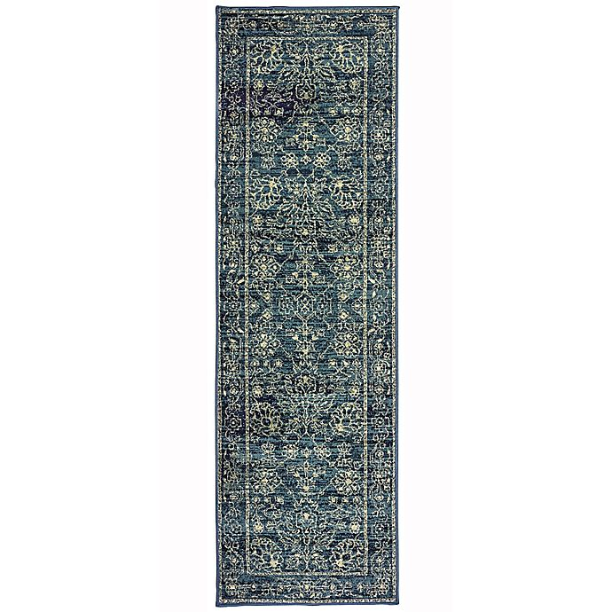 Alternate image 1 for Oriental Weavers Linden Floral Geo 2-Foot 3-Inch x 7-Foot 6-Inch Runner in Navy