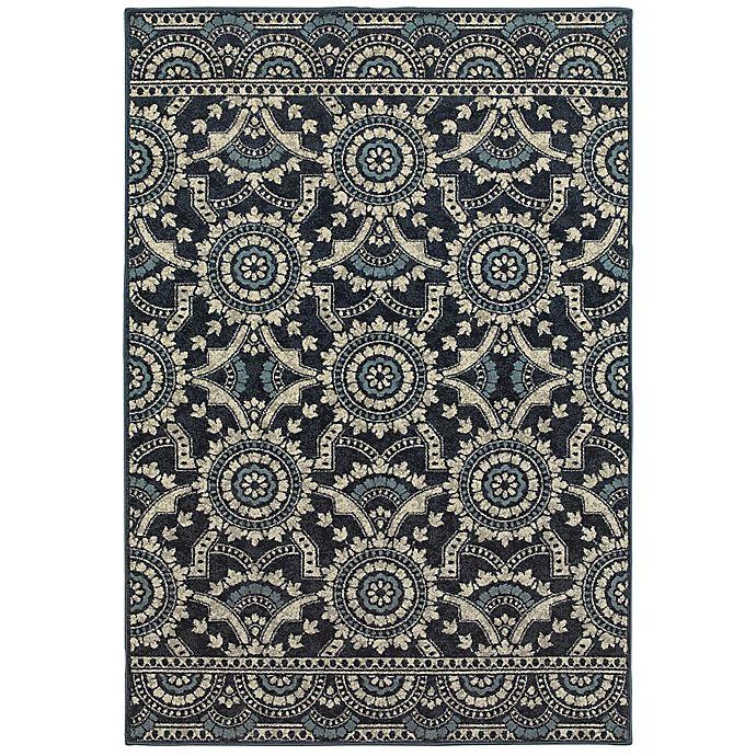 Alternate image 1 for Oriental Weavers Linden Medallions 9'10 x 12'10 Indoor/Outdoor Area Rug in Navy