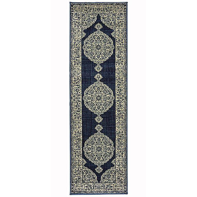 Alternate image 1 for Oriental Weavers Linden Floral Medallion 2'3 x 7'6 Indoor/Outdoor Runner in Navy
