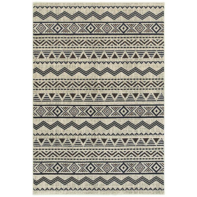 Alternate image 1 for Oriental Weavers Linden Chevrons 3-Foot 10-Inch x 5-Foot 5-Inch Indoor/Outdoor Area Rug in Grey