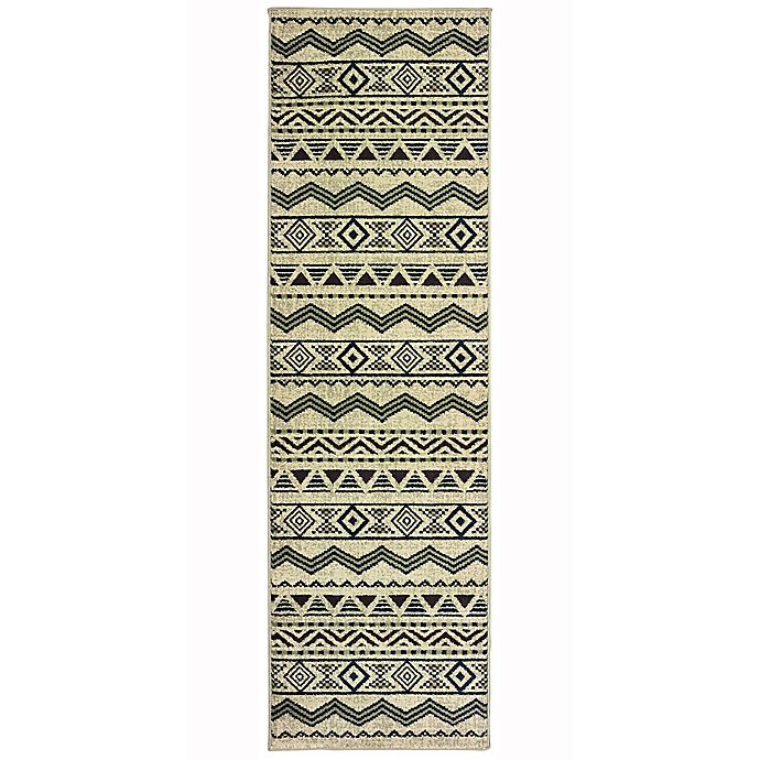 Alternate image 1 for Oriental Weavers Linden Chevrons 2-Foot 3-Inch x 7-Foot 6-Inch Indoor/Outdoor Runner in Grey