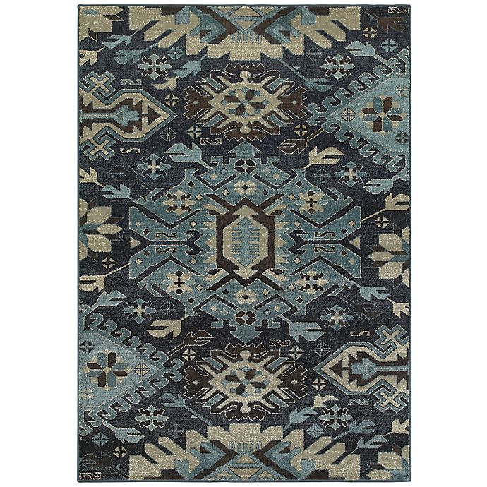 Alternate image 1 for Oriental Weavers Linden Tribal 6-Foot 7-Inch x 9-Foot 6-Inch Area Rug in Navy