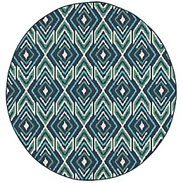 Cabana Bay Seaside Concentric Diamonds 7'10 Round Indoor/Outdoor Area Rug in Navy