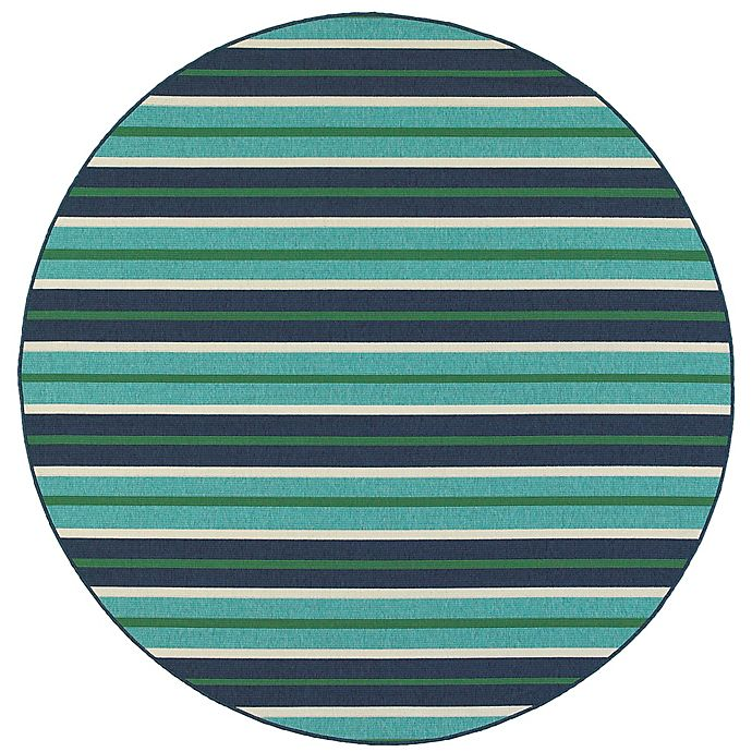 Alternate image 1 for Tommy Bahama® Meridian Stripe Indoor/Outdoor 7'10 Round Area Rug in Blue