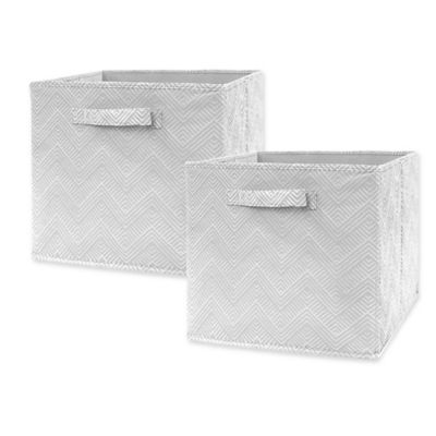 market village chevron geo collapsible 12 inch storage cube set of 2 in grey bed bath and. Black Bedroom Furniture Sets. Home Design Ideas
