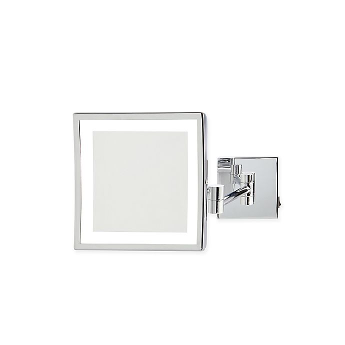 Alternate image 1 for Jerdon 5X LED Square Direct Wire Wall Mount Mirror