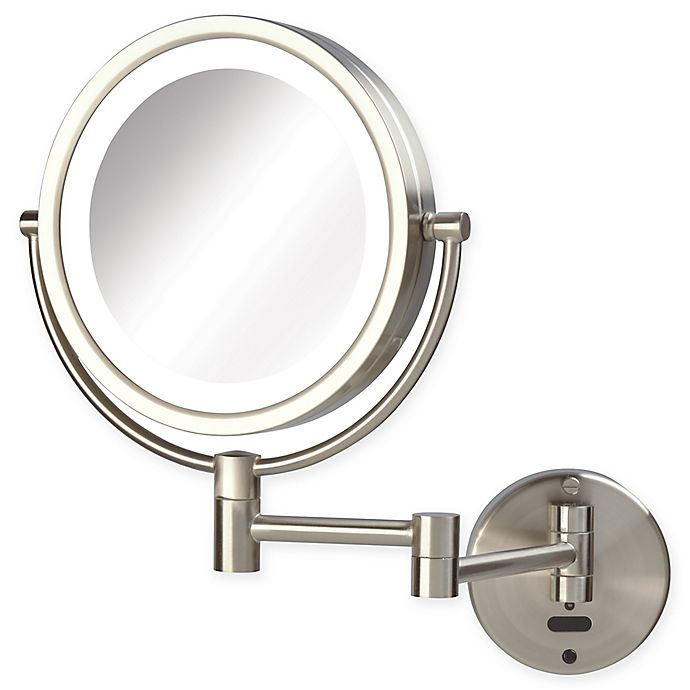 Alternate image 1 for Sharper Image® 8X-1X LED Wall Mount Motion Sensor Mirror in Nickel