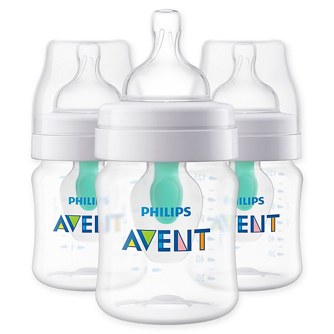 Alternate image 1 for Philips Avent 3-Pack 4 oz. Wide-Neck Anti-Colic Bottle with Insert