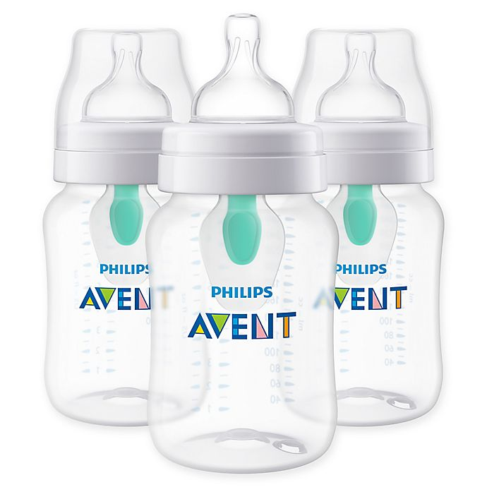 Alternate image 1 for Philips Avent 3-Pack 9 oz. Wide-Neck Anti-Colic Bottle with Insert