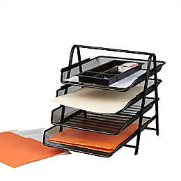 Mind Reader 4-Tier Mesh Paper Tray Desk Organizer in Black