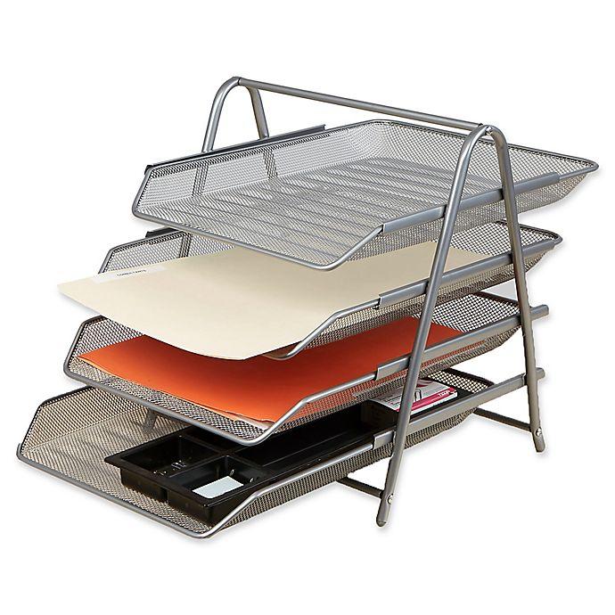27a8cad8d Mind Reader 4-Tier Mesh Paper Desk Organizer in Silver | Bed Bath ...
