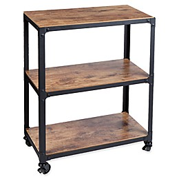 Mind Reader Charm 3-Shelf Utility Cart in Black/Wood