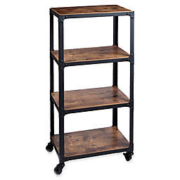 Mind Reader Charm 4-Shelf Utility Cart in Black/Wood
